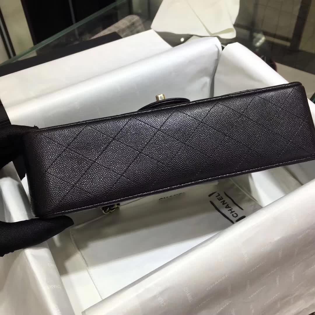 Chanel 香奈儿 Classic Flap 小鱼子酱 黑色 25cm 香槟金