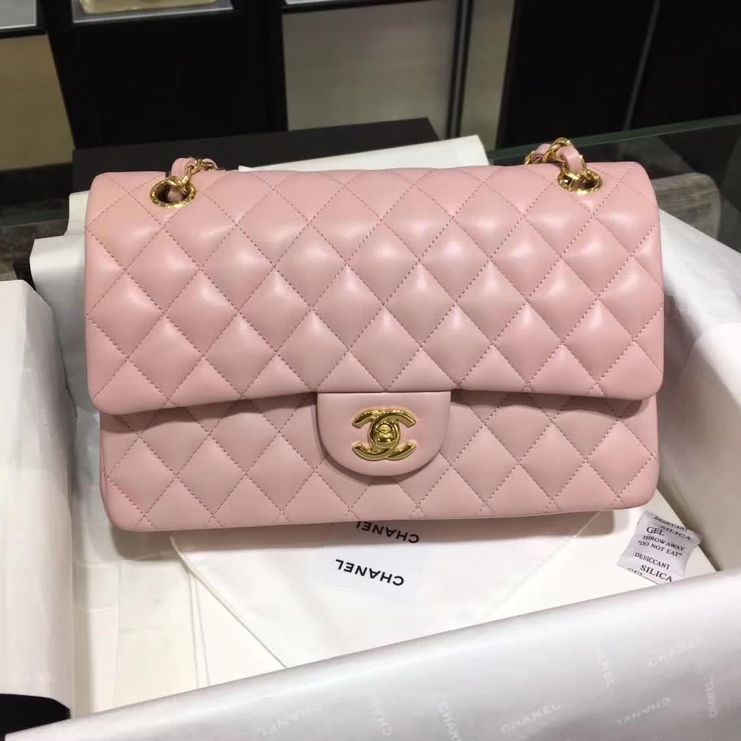 Chanel 香奈儿 Classic Flap 小羊皮 浅粉色 25cm  金(现货)