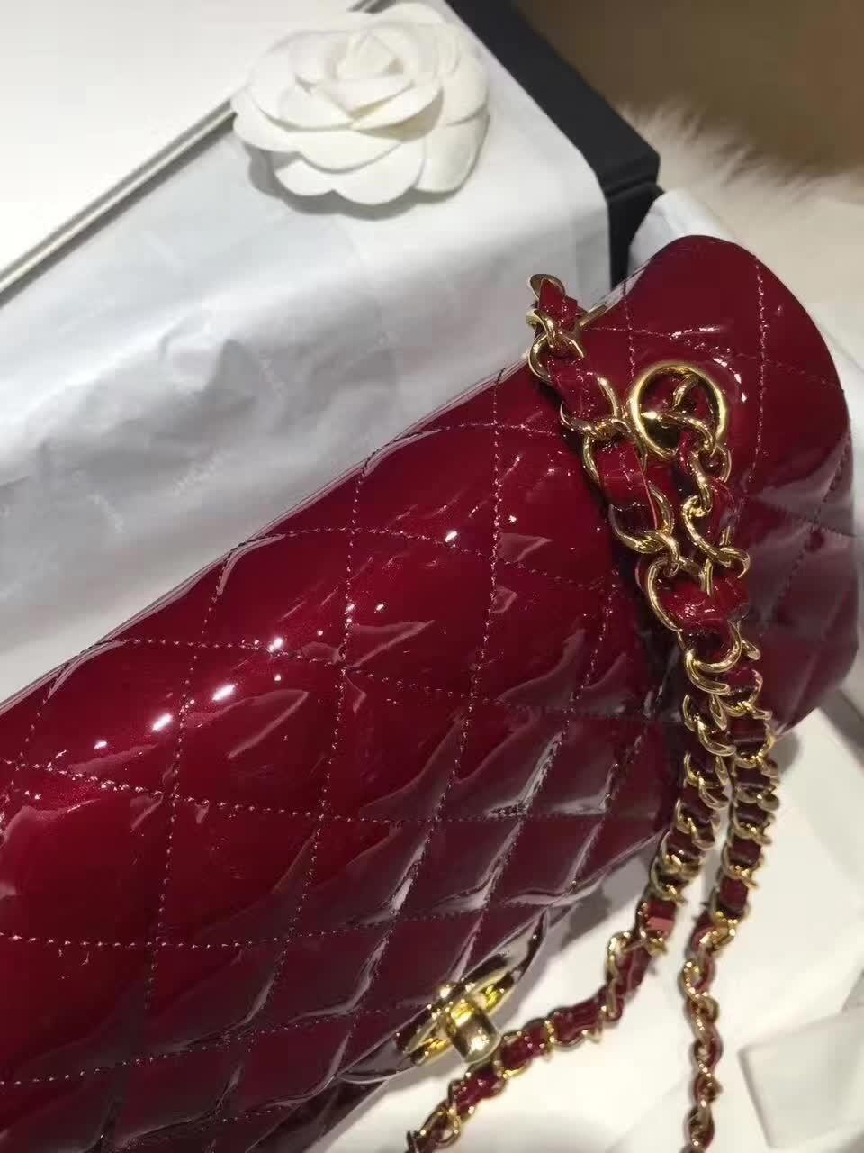 Chanel 香奈儿 Classic Flap 漆皮 酒红 25cm 金五金