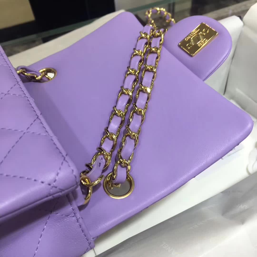 Chanel 香奈儿 Classic Flap 小羊皮 薰衣草紫 17cm 金色五金