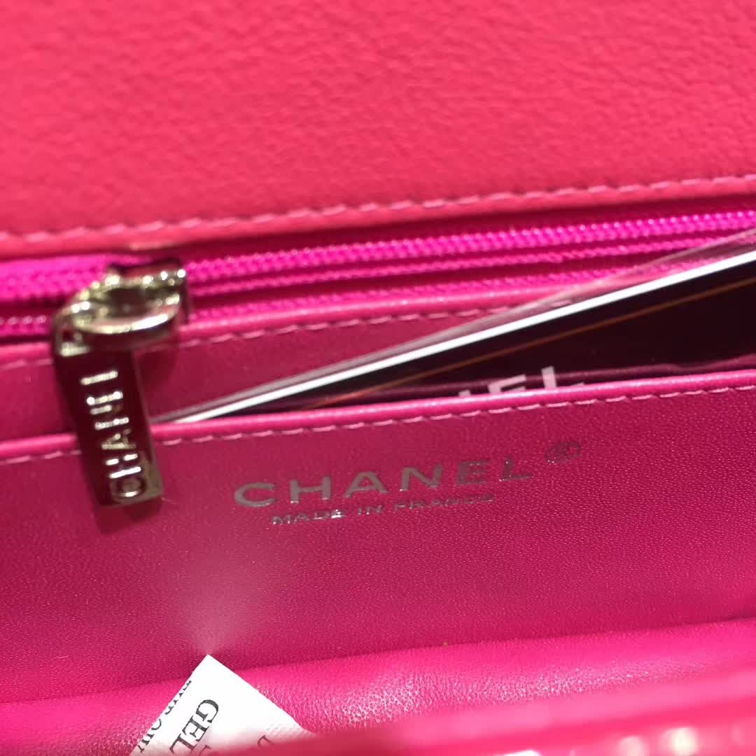 Chanel 香奈儿 ClassicFlap 漆皮 玫红色 20cm 五金:银