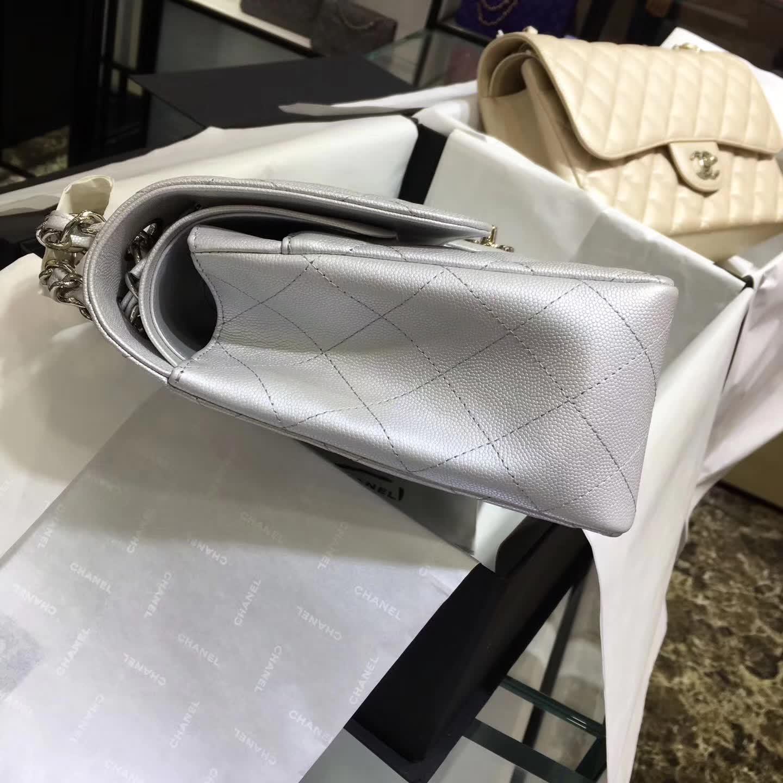 Chanel 香奈儿 Classic Flap 小鱼子酱 银色 30cm 五金:银