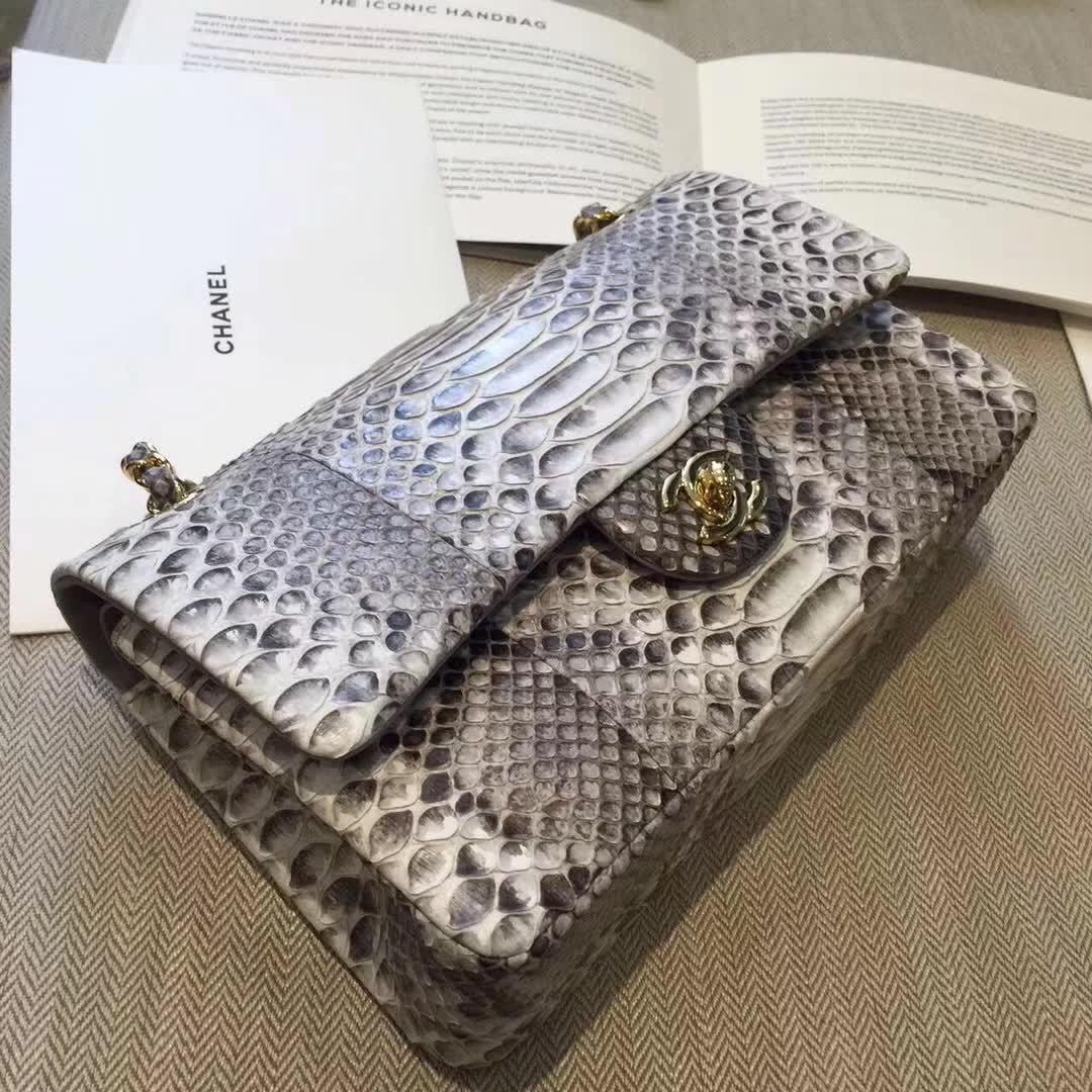 Chanel 香奈儿 Classic Flap 蛇皮 原花色 25cm 金 广州白云皮具城