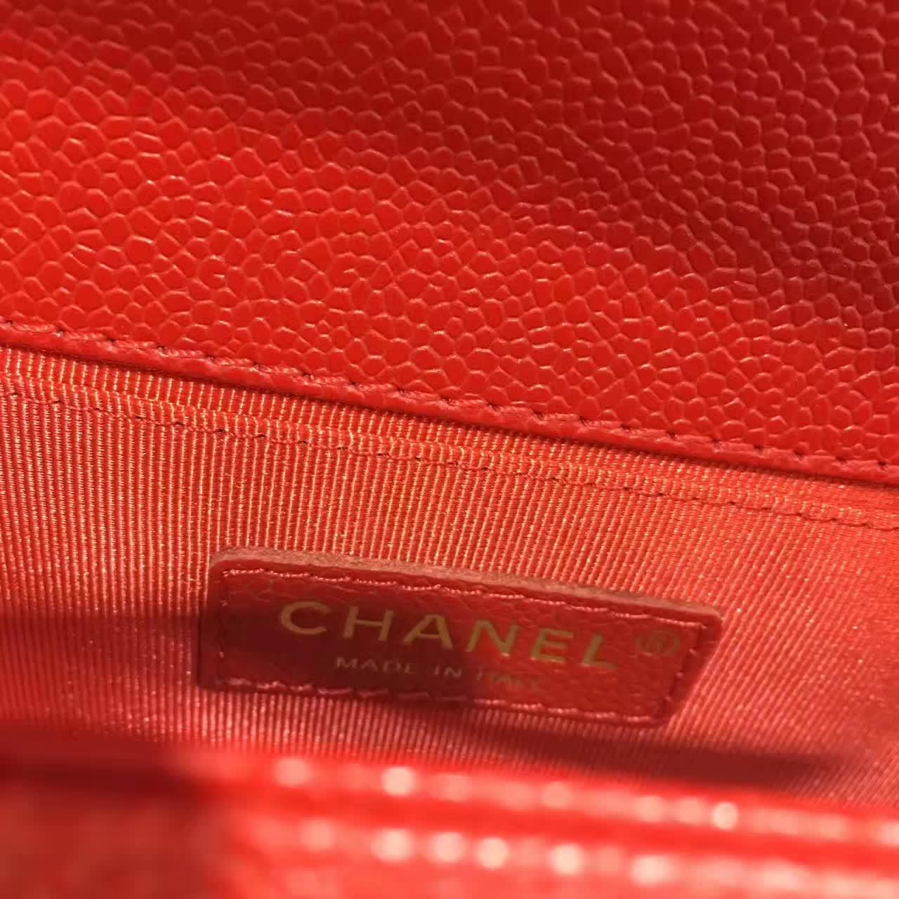 Chanel 香奈儿 Leboy 鱼子酱 大红 25cm 古金