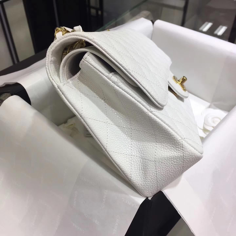 Chanel 香奈儿 Classic Flap 鱼子酱 白色 25cm 金色五金