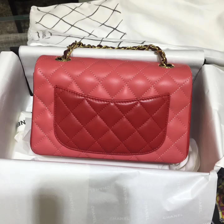 Chanel 香奈儿 Classic Flap  小羊皮 拼色 20cm 五金:金