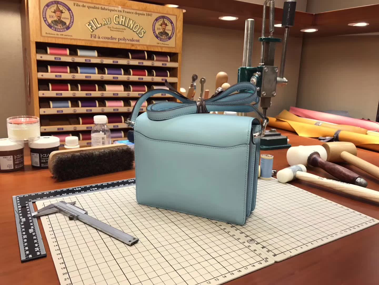 Hermes Roulis mini 19 亚麻蓝 blue lin J7 爱马仕官网同步 专柜断货颜色