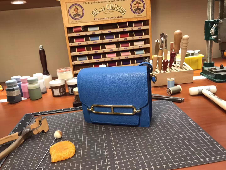 Hermes Roulis mini 19  blue agate 玛瑙蓝 r2  爱马仕官网同步 专柜断货颜色