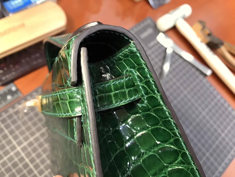 CK67 Vert Fonce 祖母绿 尚美高订 Mini Kelly 22CM 鳄鱼皮手工定制