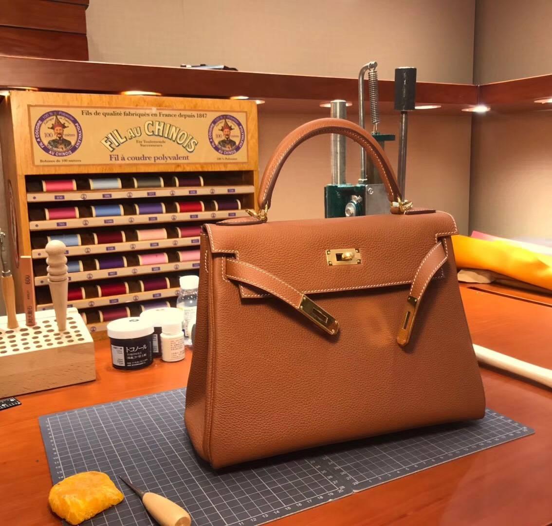 Kelly 28CM Togo皮 纯手工蜡线 法国TR级别的进口皮料 配全套专柜包装发票 CK37 金棕色