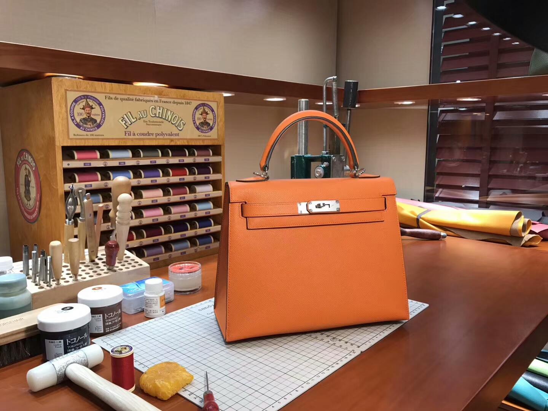 经典橙色 CK93 Orange 金扣 Kelly  28CM 现货系列 配全套专柜原版包装