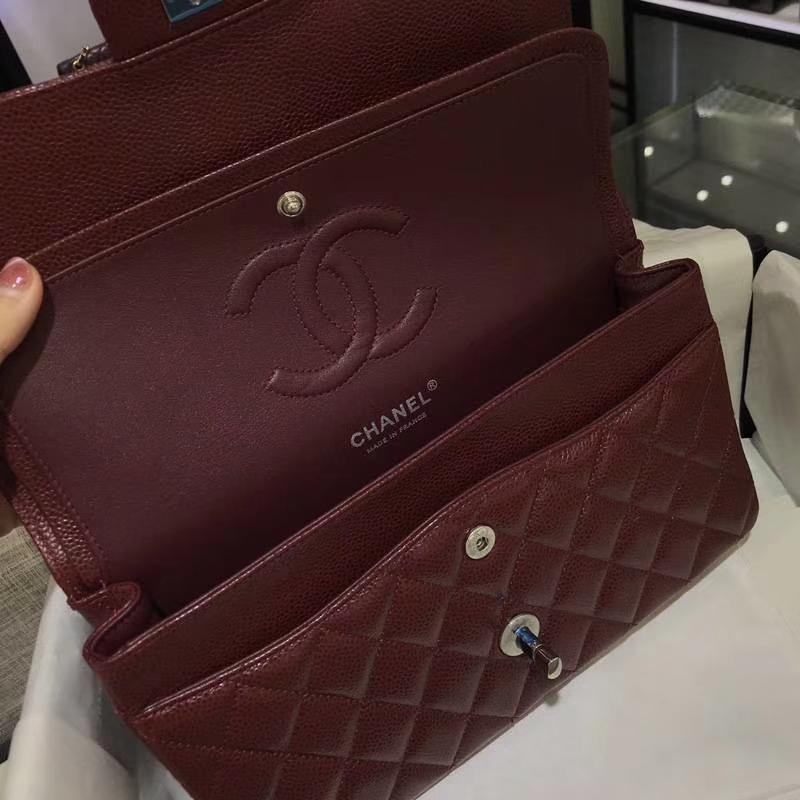 香奈儿 CHANEL Classic Flap Bag  进口鱼子酱 25cm 酒红 银扣 客订出货 少量现货
