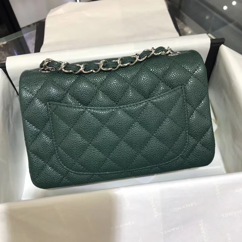 CHANEL 小香 Classic Flap Bag  进口鱼子酱 20cm 翡翠绿 银扣  客订出货 少量现货