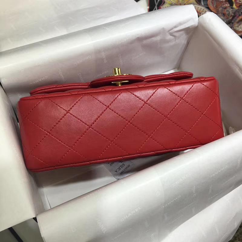 CHANEL 香奈儿 Classic Flap Bag  进口小羊皮 20cm 感受细节 感受工艺 大红 金扣