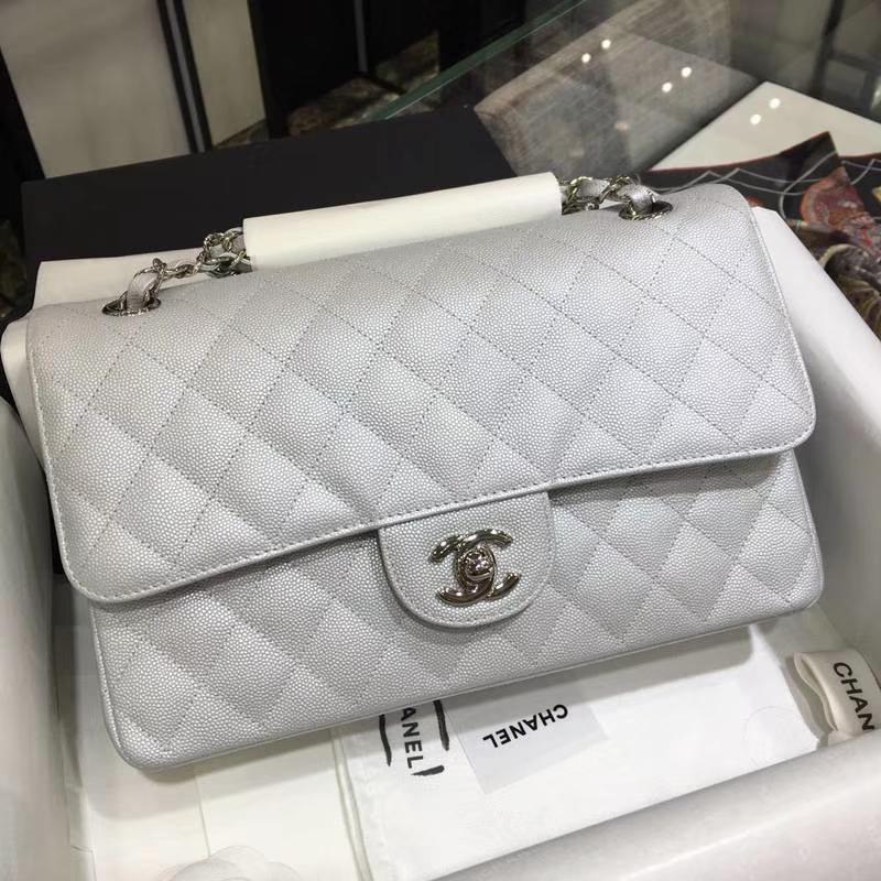 CHANEL 香奈儿 Classic Flap Bag  进口小鱼子酱 25cm 现货 感受细节 感受工艺 银色 银扣