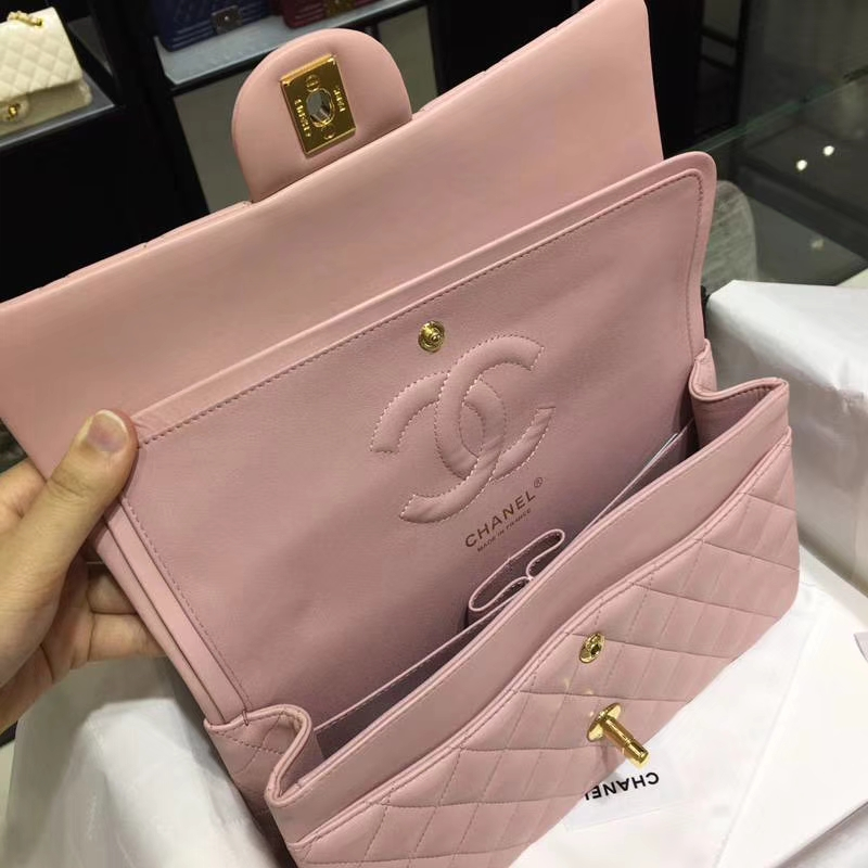 香奈儿 Classic Flap Bag  25cm Medium Size  Imported lamb skin 进口小羊皮 25cm 现货 浅粉 金扣