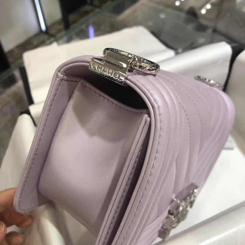 Chanel 香奈儿 Leboy Bag 大V款 小羊皮 20cm 珠光粉 大理石纹琉璃彩扣