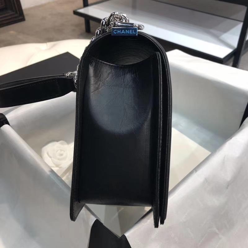 Chanel 香奈儿 Leboy Bag 手工链 复刻皮 28cm 黑色 白银五金