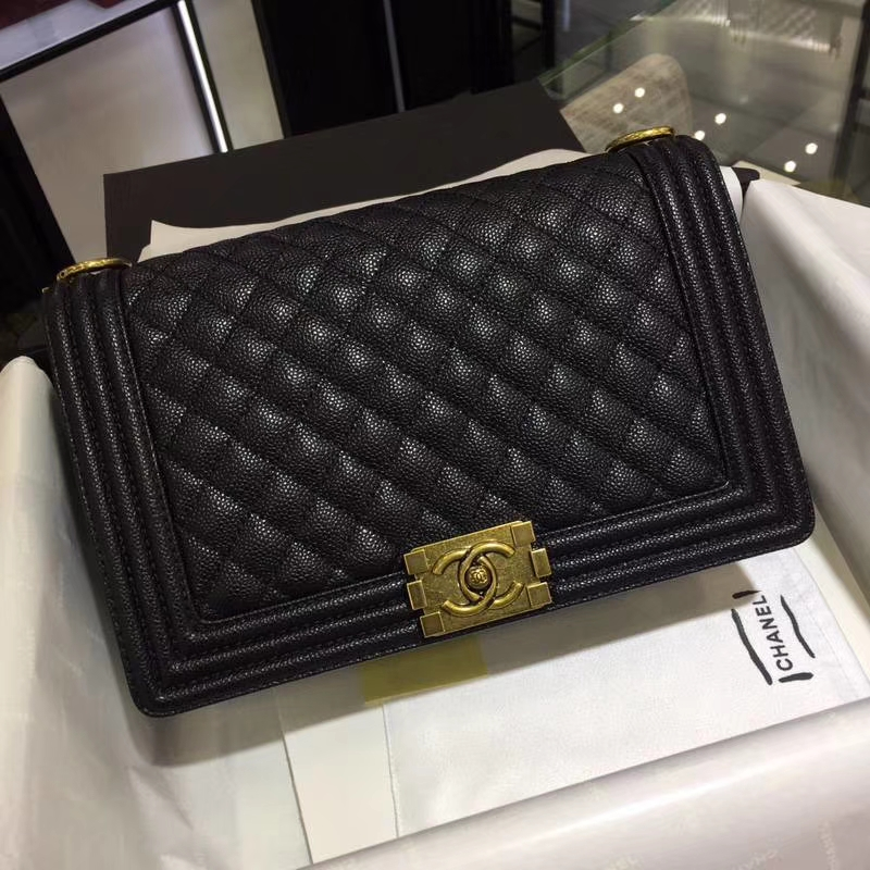 Chanel 香奈儿 leboy bag 鱼子酱 黑色 28cm 古金 现货