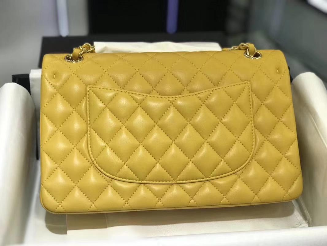 Chanel 香奈儿 CF 经典系列 羊皮 芒果黄  25cm 金扣 现货