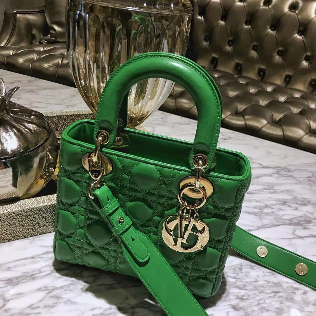Dior 迪奥 四格戴妃包 仙人掌绿 金银扣 进口小羊皮 意大利原厂皮料 20cm 自选徽章款戴妃