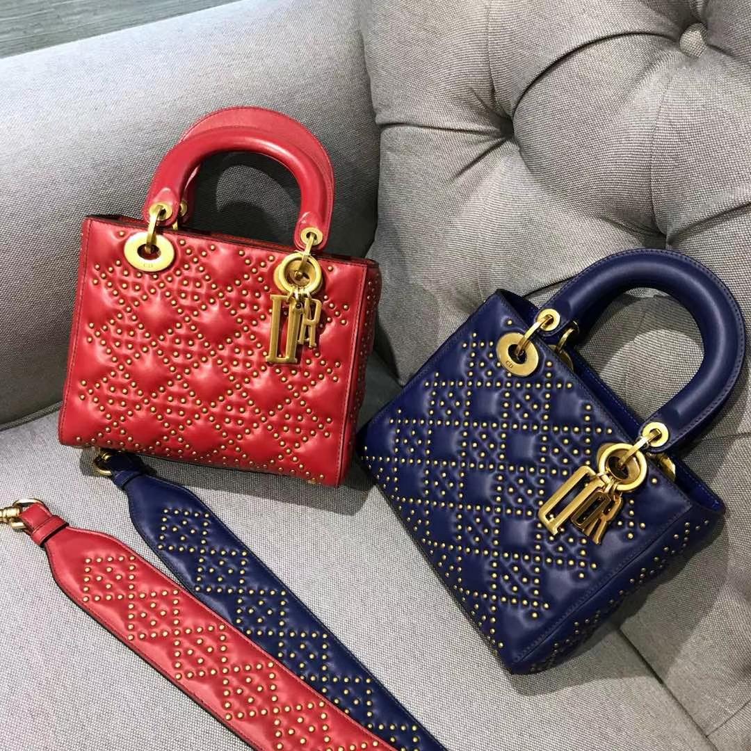 Dior 迪奥 四格戴妃包 铆钉 金扣 进口小羊皮 意大利原厂皮料