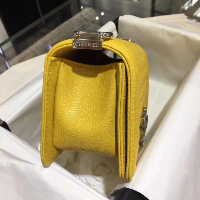 Chanel 香奈儿 leboy bag 鱼子酱 芒果黄 20cm 亮银扣 现货