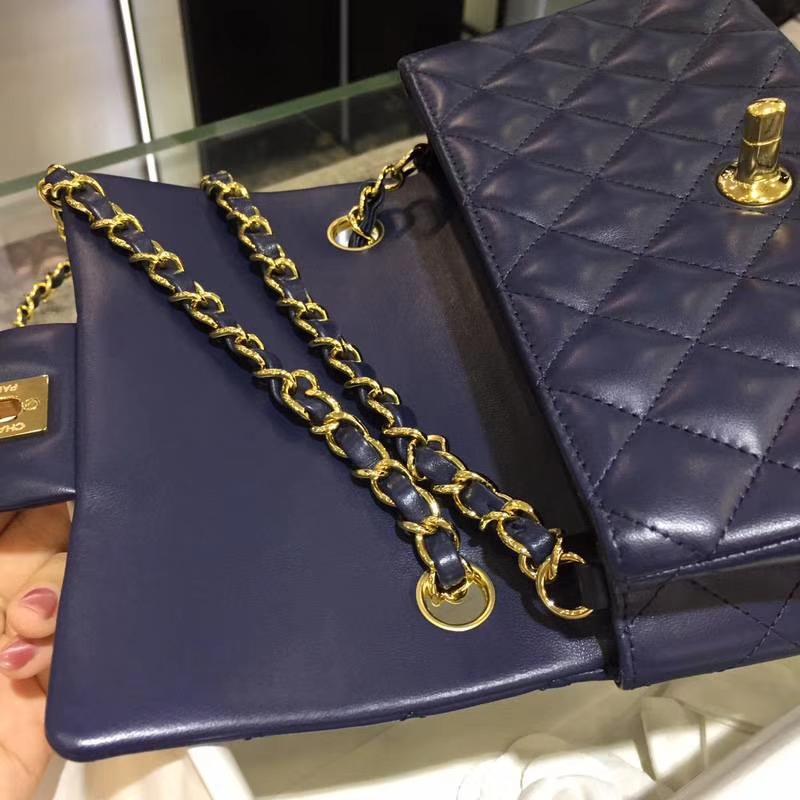 Chanel 香奈儿 CF 经典系列 羊皮 宝石蓝 20cm 金扣 现货