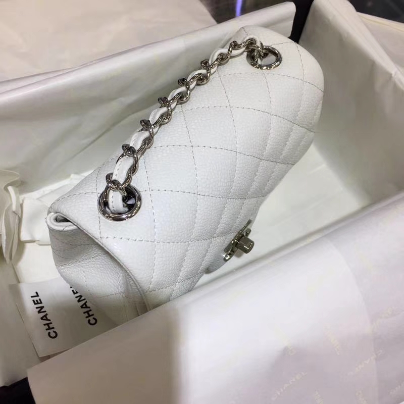 Chanel 香奈儿 CF 经典系列 鱼子酱 白色 17cm 银扣 现货