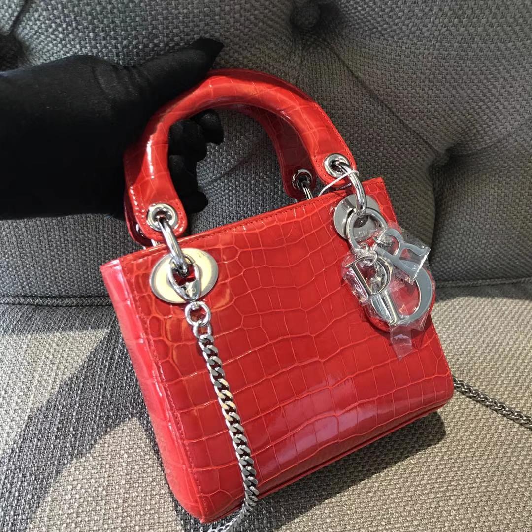 Dior 迪奥 小号戴妃 鳄鱼皮钻石扣定制 出货实拍 欢迎品鉴 珊瑚红