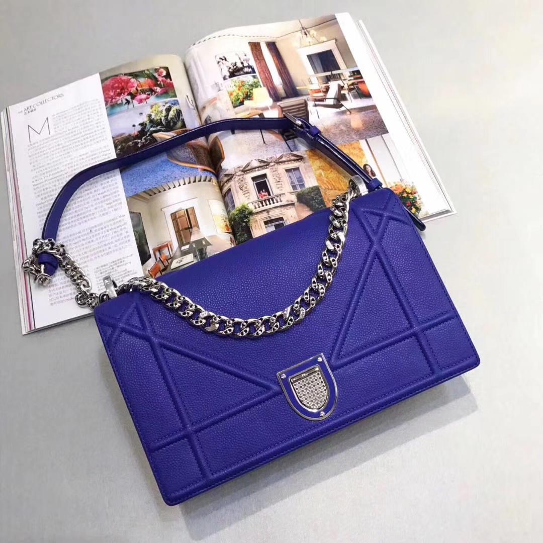Dior 迪奥 漆皮/牛皮款 25cm 腾格纹 电光蓝 实拍图