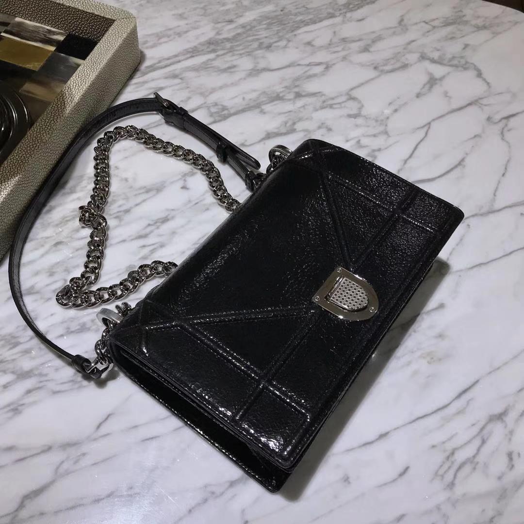Dior 腾格纹 21cm 单肩包 翻盖包 漆皮黑色