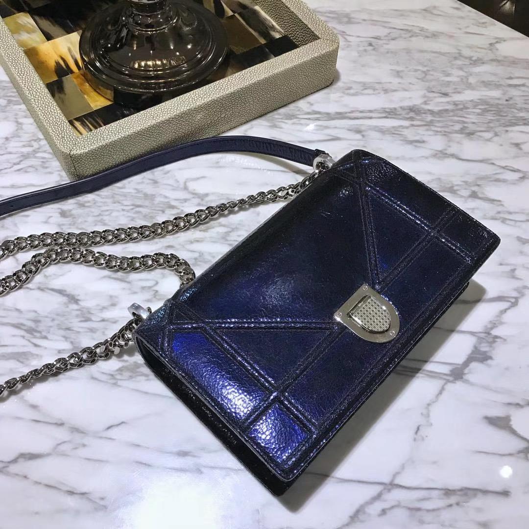 Dior 腾格纹 25cm/21cm 银色链条 宝兰色 专柜同步
