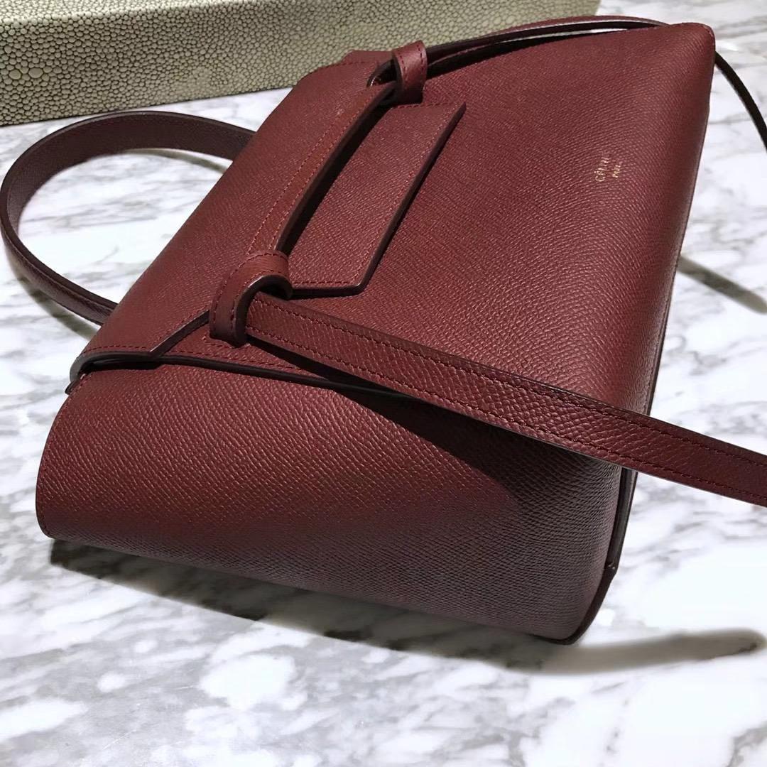 Celine 专柜品质 鲶鱼包mini 20cm 酒红色
