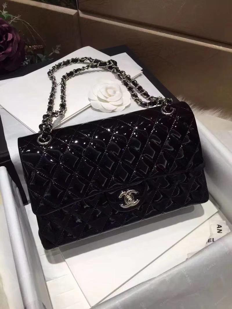 Chanel 香奈儿  Classic Flap  进口漆皮 25cm 黑色 银扣