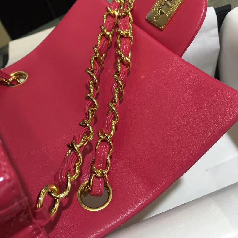 Chanel 香奈儿  Classic Flap  进口玫红 17cm 方胖子 玫红 金扣