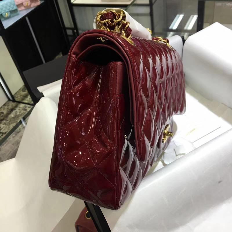 Chanel 香奈儿  Classic Flap  进口漆皮 30cm 酒红 金扣
