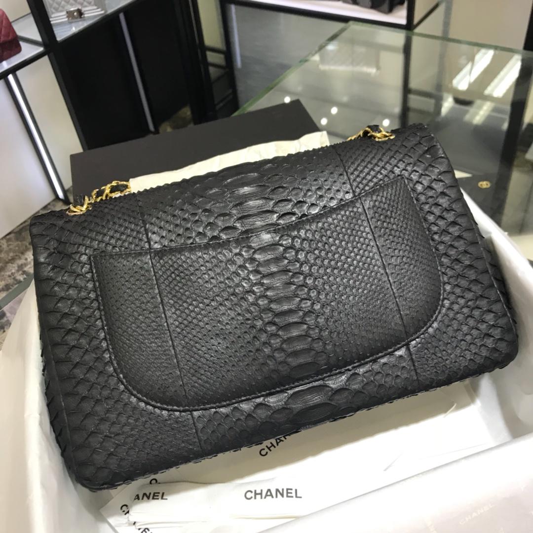 Chanel 香奈儿 CF经典系列 进口南非蛇皮黑色 30cm 金扣