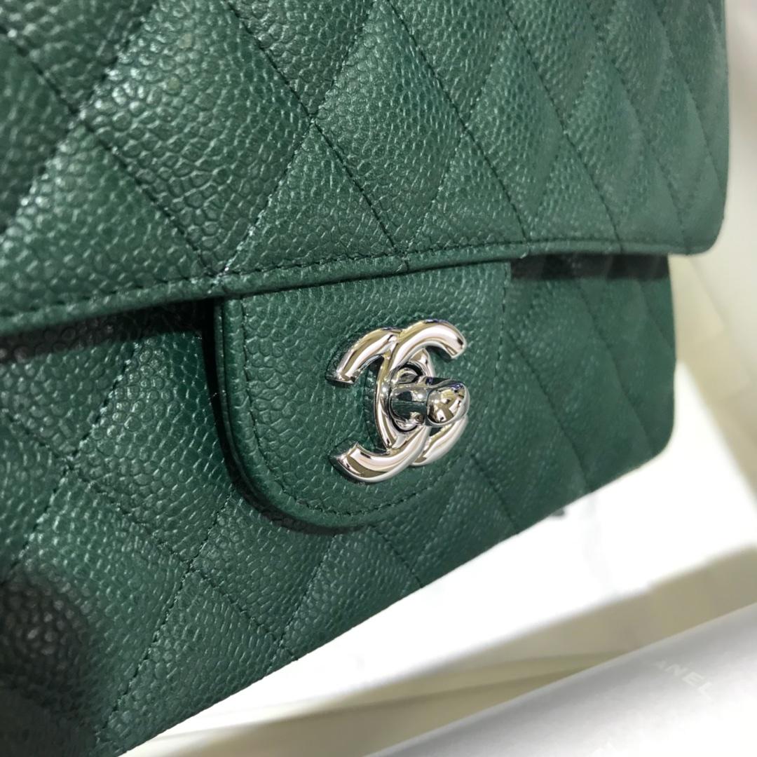 Chanel 香奈儿 CF 经典系列 鱼子酱 翡翠绿 25cm 银扣 现货