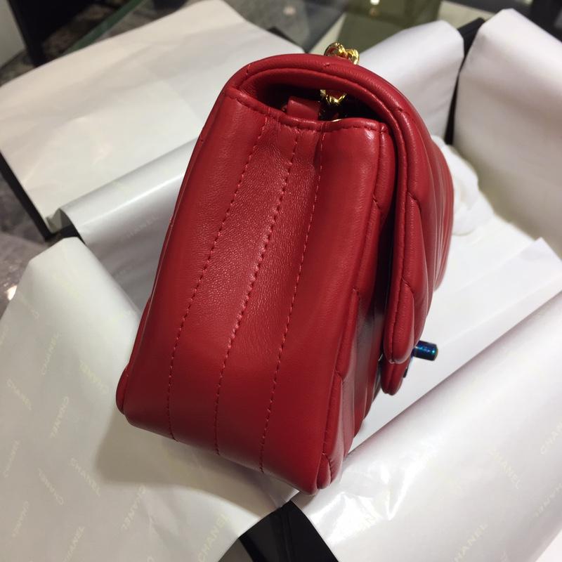 Chanel 香奈儿 V字绣 经典系列 羊皮 大红 20cm 金 现货