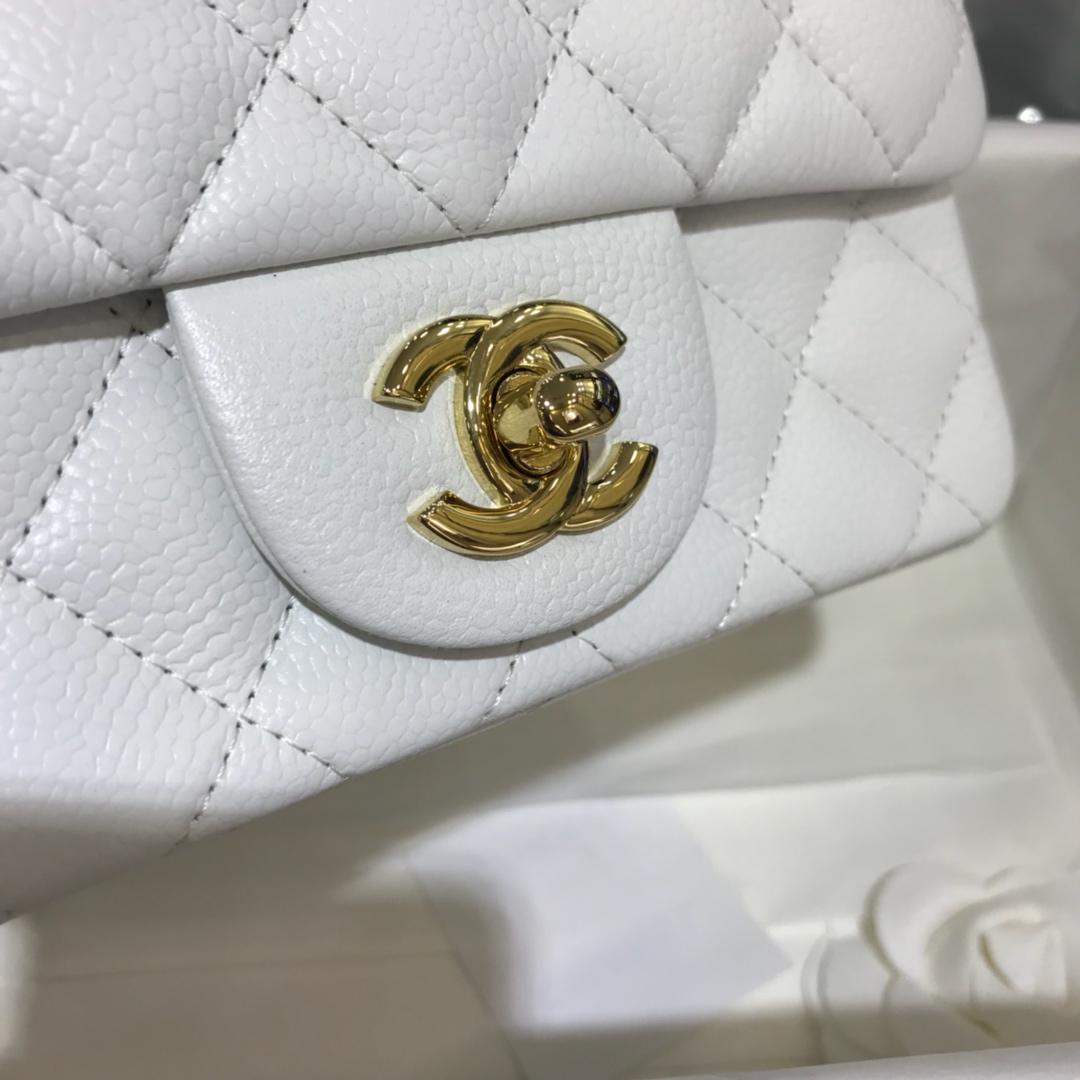 CF 小香最经典系列 鱼子酱 白色配金色五金 mini方胖子 17cm 现货