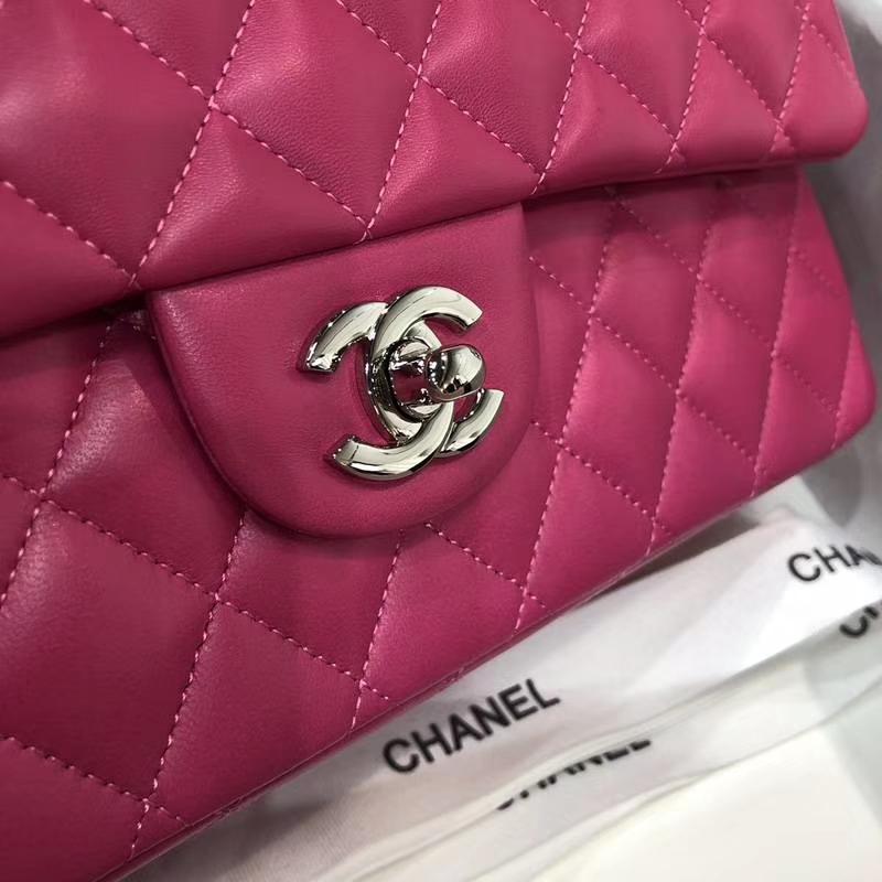 Chanel 香奈儿Classic Flap 羊皮 25cm 玫红色 银扣