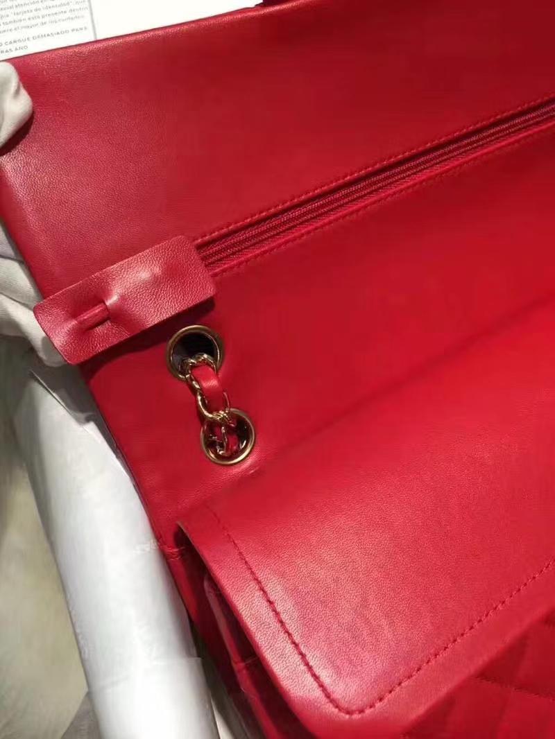 Chanel 香奈儿 cf 羊皮 25cm 大红色 金扣 专柜同步