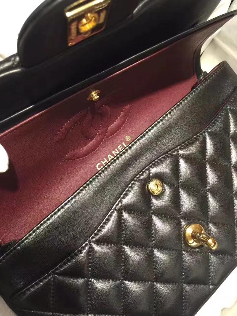 Chanel 香奈儿 cf25cm小羊皮黑色金扣 进口小羊皮