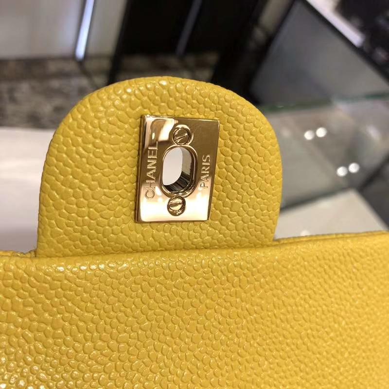 Chanel 香奈儿 Classic Flap Bag  法国进口鱼子酱 17cm 现货 芒果黄 金扣
