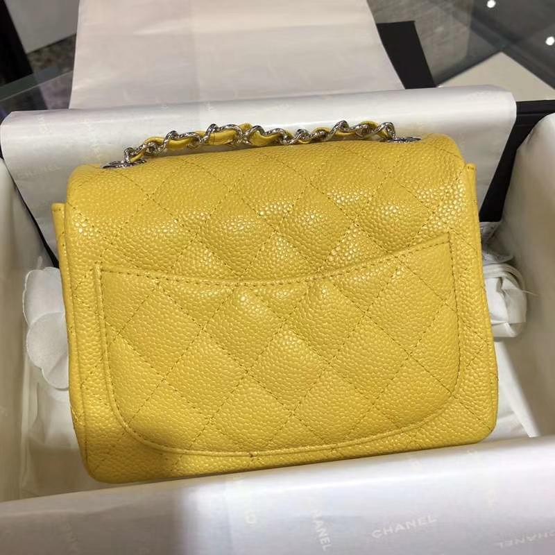 Chanel 香奈儿 Classic Flap Bag  法国进口鱼子酱 17cm 现货 芒果黄 银扣