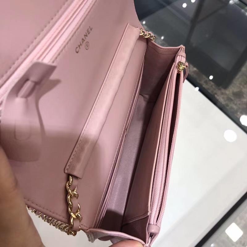 Chanel 香奈儿 WOC 小羊皮 20cm 金链 浅粉色 现货