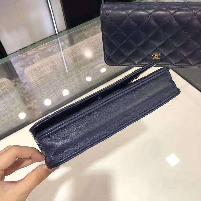 Chanel 香奈儿 WOC 小羊皮 20cm 银链 宝石蓝 现货