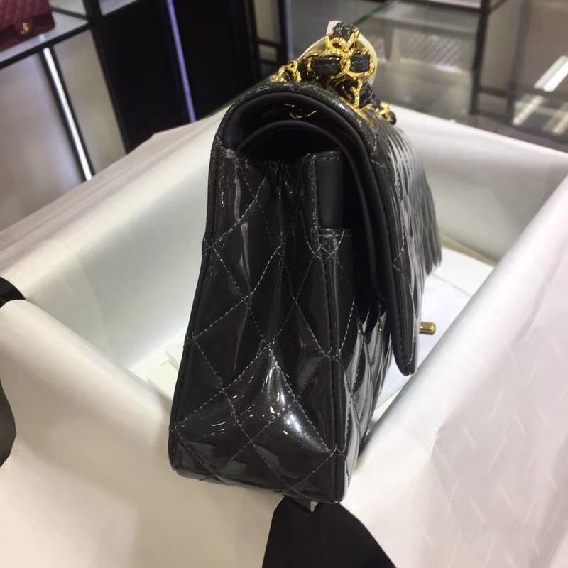 Chanel 香奈儿 Cf漆皮珠光铁灰 25cm 原厂进口五金