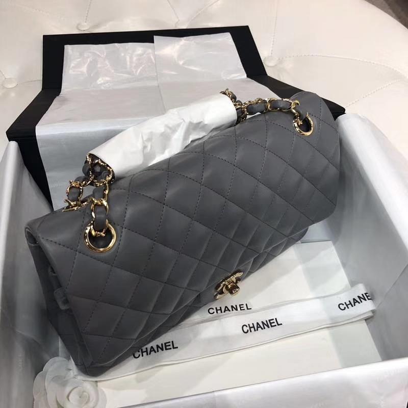 Chanel 香奈儿 Classic Flap Bag 进口小羊皮 25cm 现货 锡器灰 金扣